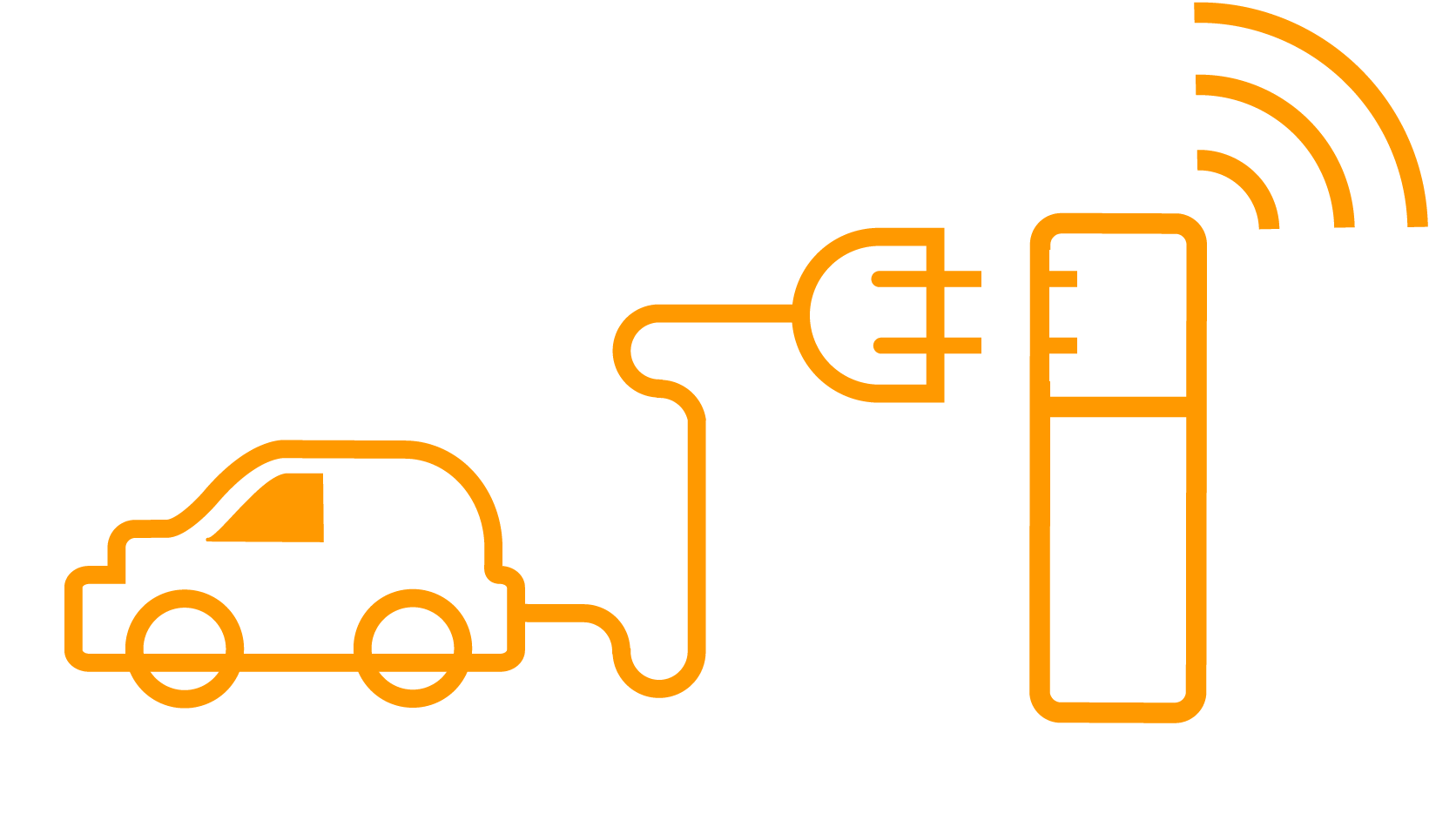 Electric vehicle and charging point icon